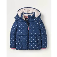 Cosy 2 in 1 Padded Jacket College Navy Geo Flower Girls Boden, College Navy Geo Flower