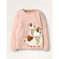 Applique Front & Back T-shirt Pink Girls Boden, Pink