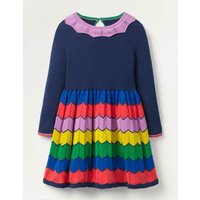Colourful Knitted Dress Blue Girls Boden, Navy