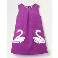 Applique Pocket Cord Pinafore Purple Girls Boden, Purple