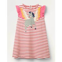 Flutter Sleeve Applique Dress Red Girls Boden, Ivory