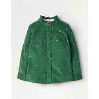 Frill Neck Embroidered Shirt Green Girls Boden, Green
