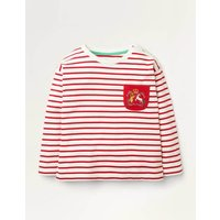 Heraldic Pocket Breton Red Girls Boden, Ivory