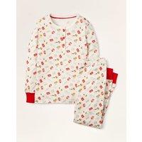 Johnnie B Snug Henley Pyjama Set Ivory Christmas Boden, Ivory