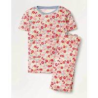 Snug Short John Pyjamas Pink Flowerbed Girls Boden, Pink Flowerbed
