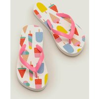 Printed Flip Flops Multi Girls Boden, White