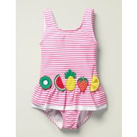 Novelty Applique Swimsuit Pink Girls Boden, Ivory