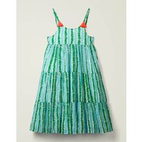 Tiered Tassel Dress Blue Girls Boden, Blue