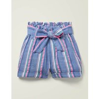 Textured Tie-Waist Shorts Blue Girls Boden, Blue
