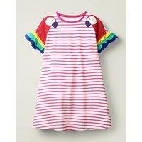 Flutter Sleeve Jersey Dress Pink Girls Boden, Camel