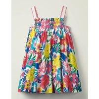 Pom Trim Print Dress Multi Girls Boden, Multicouloured