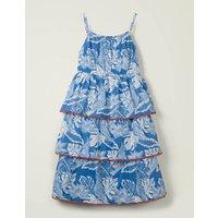 Tiered Woven Dress Blue Girls Boden, Blue