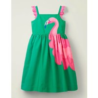 Embellished Frill Sleeve Dress Green Girls Boden, Green