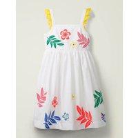 Embellished Frill Sleeve Dress White Girls Boden, White