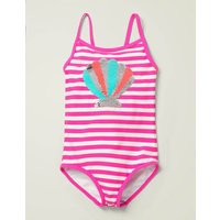 Colour-Change Sequin Swimsuit Pink Girls Boden, Ivory