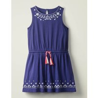 Embroidered Tie-waist Dress Blue Girls Boden, Blue