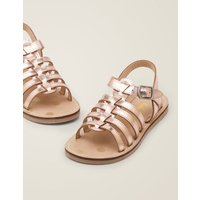 Leather Gladiator Sandals Metallic Girls Boden, Gold pink