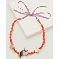 Fabric Necklace Pink Girls Boden, Ivory