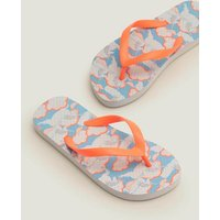 Printed Flip Flops Blue Girls Boden, Blue