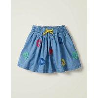 Heart Fringe Detail Skirt Blue Girls Boden, Blue