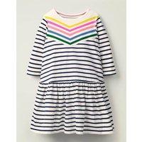 Stripy Jersey Dress Blue Girls Boden, Pink