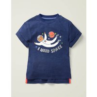 Johnnie B Fun Logo T-shirt Blue Girls Boden, Navy