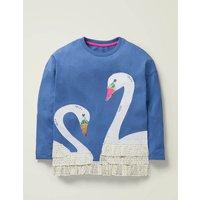Frill Applique T-shirt Blue Girls Boden, Blue