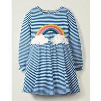 Fun Applique Jersey Dress Blue Girls Boden, Blue