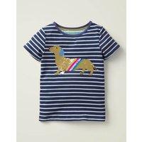 Sequin Colour-change T-shirt Blue Girls Boden, Navy
