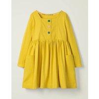 Rainbow Button Jersey Dress Yellow Girls Boden, yellow