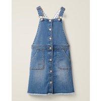 Button Through Dungaree Dress Mid Vintage Denim Boden, Mid Vintage Denim