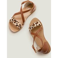 Leather Cross Over Sandals Brown Girls Boden, Tan