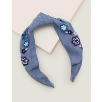 Knotted Embroidered Headband Blue Girls Boden, Blue