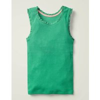 Lace Trim Ribbed Vest Green Girls Boden, Green