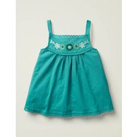 Embroidered Strappy Top Blue Girls Boden, Green
