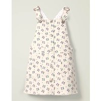 Button Through Dungaree Dress Ivory Girls Boden, Beige