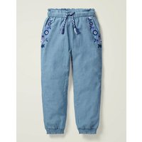 Detailed Holiday Trousers Blue Girls Boden, Blue