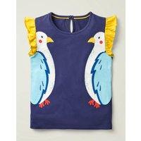 Flutter Applique T-shirt Blue Girls Boden, Indigo