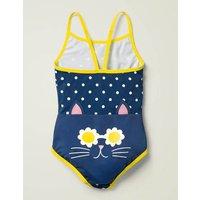 Novelty Bottom Swimsuit Navy Girls Boden, Blue