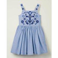 Embroidered Sun Dress Blue Girls Boden, Blue