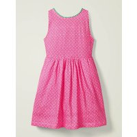 Pom Jersey Dress Pink Girls Boden, Multicouloured