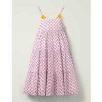Tiered Tassel Dress Pink Girls Boden, Multicouloured