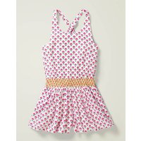 Smocked Waist Playsuit Pink Girls Boden, Pink