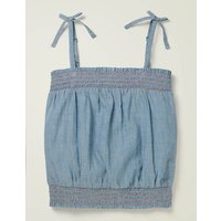 Strappy Bow Woven Top Blue Boden, Blue