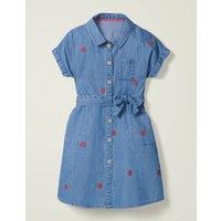 Woven Shirt Dress Blue Girls Boden, Blue