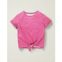Tie-front Top Pink Girls Boden, Multicouloured