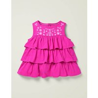 Embroidered Top Pink Girls Boden, Pink