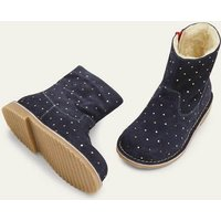 Cosy Short Leather Boots Blue Girls Boden, Navy