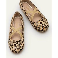 Novelty Ballet Flats Tan Leopard Girls Boden, Tan Leopard