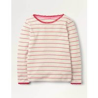 Sparkly Pointelle T-shirt Red Girls Boden, Gold